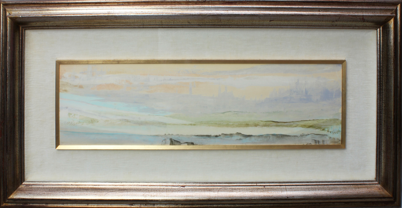 Lot 40 - Paesaggio, a firma Di Cristina 1969, tecnica mista, cm. 68x20
