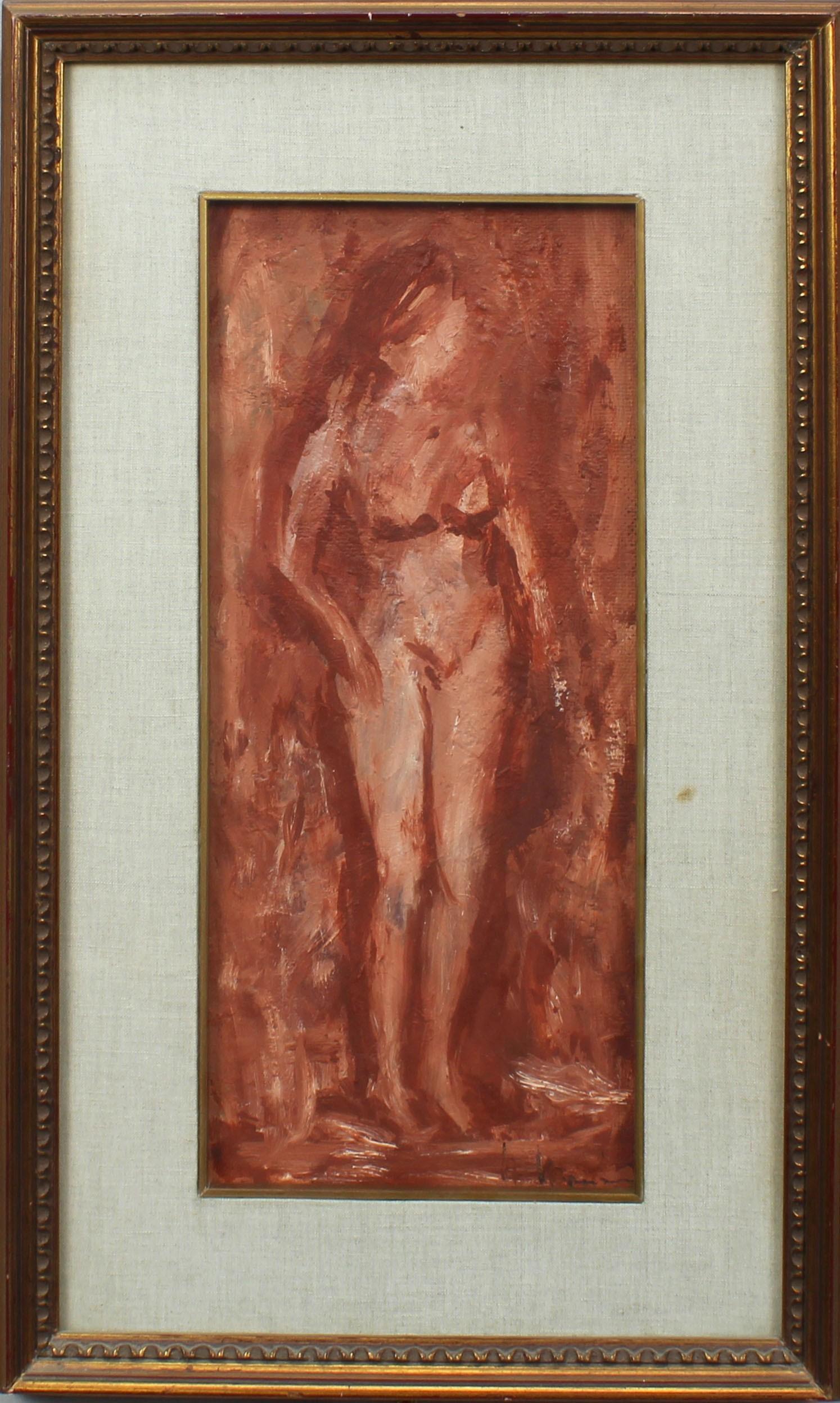 Lot 29 - Nudo, a firma Venturini, olio su tela cm. 16x38