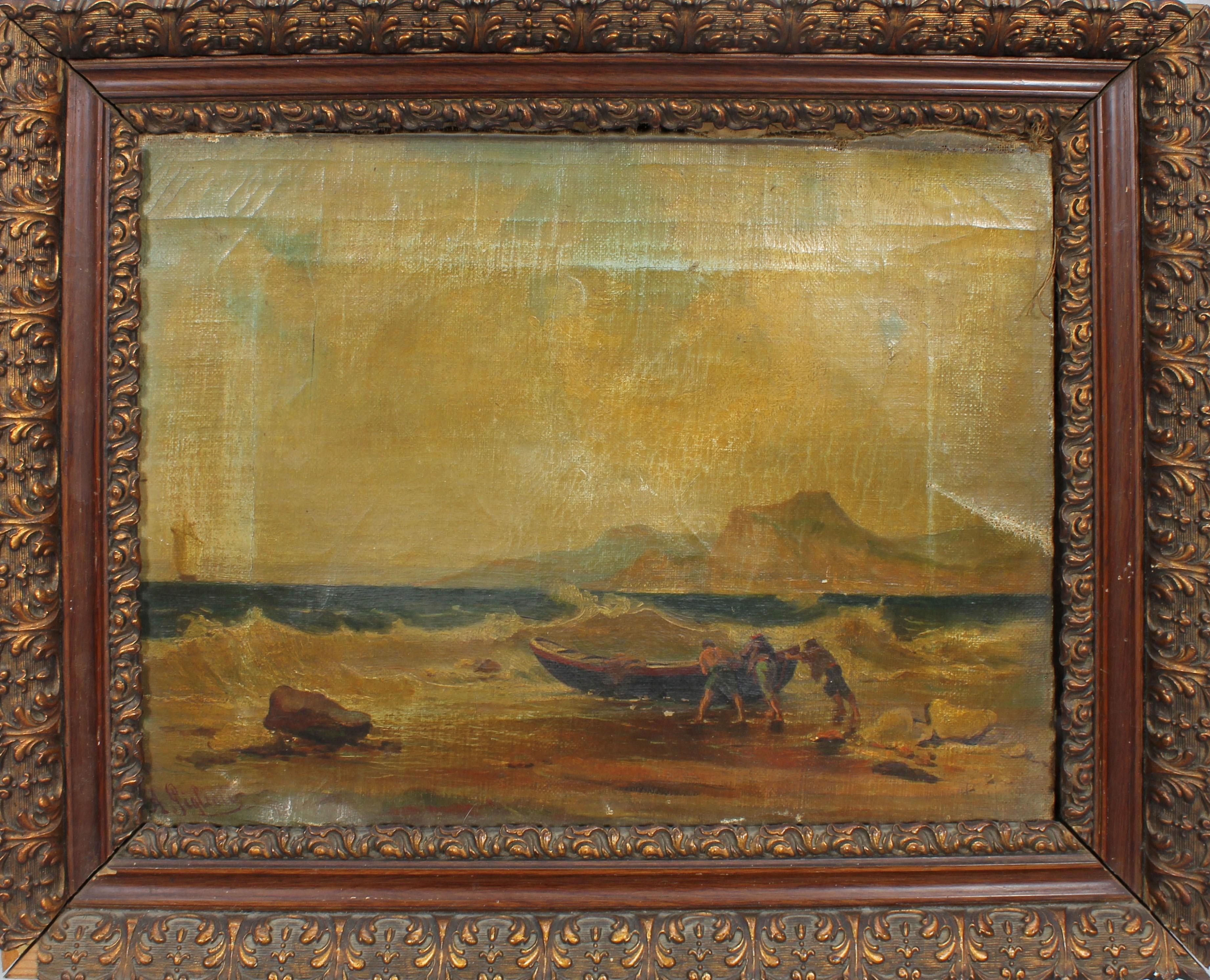 Lot 53 - Barca con pescatori, a firma A Giglioli, olio su tela, primi '900, cm. 37x27