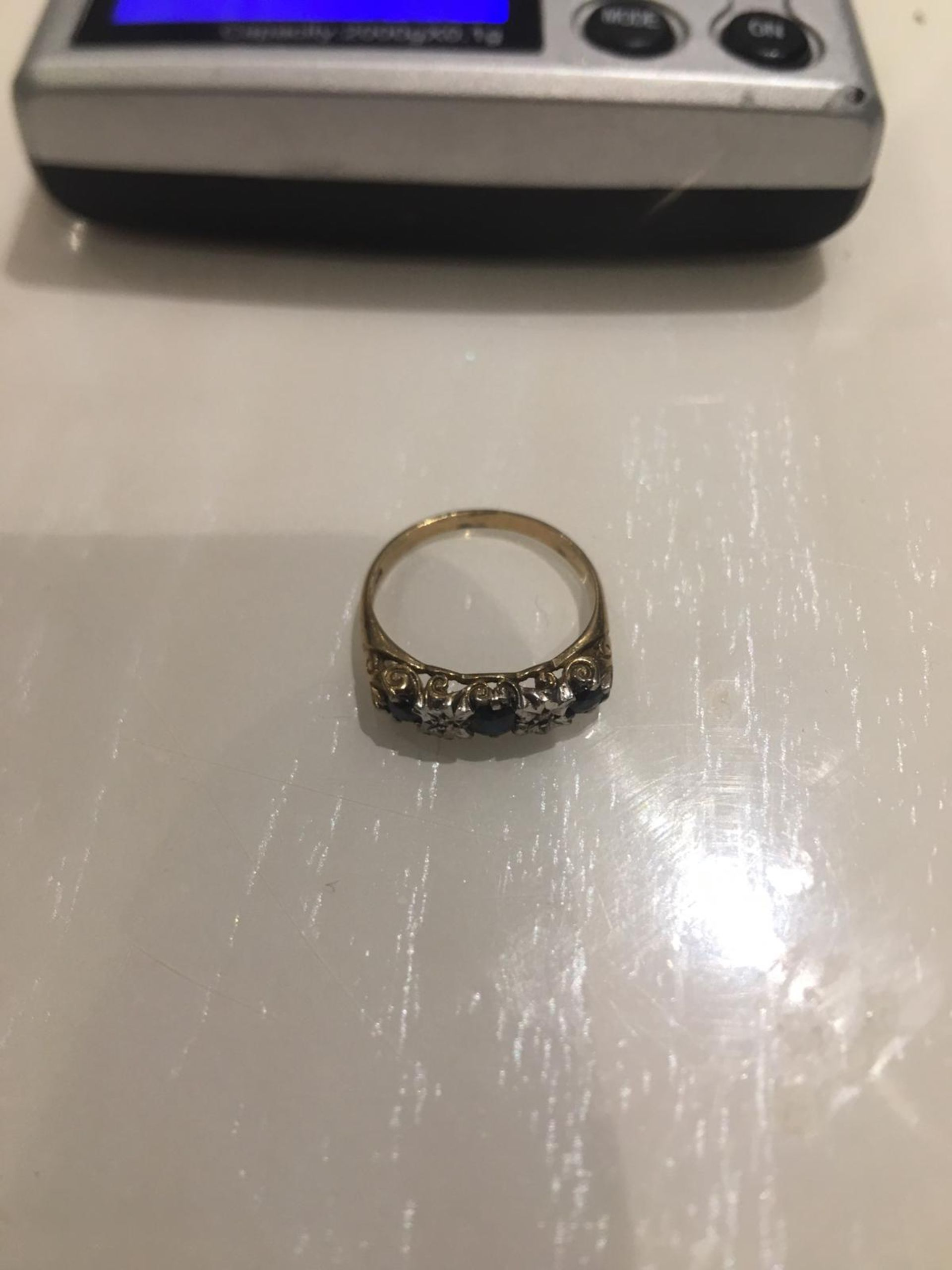 Lot 5 - 9CT SOLID GOLD RING WITH DIAMOND & SAPPHIRES