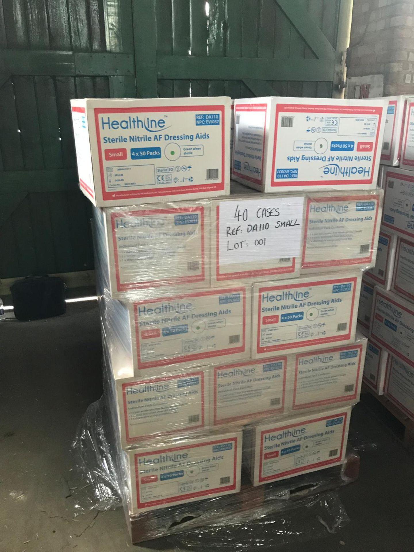 Lot 1 - STERILE NITRILE AF DRESSING AIDS SMALL 40 CASES ON PALLET