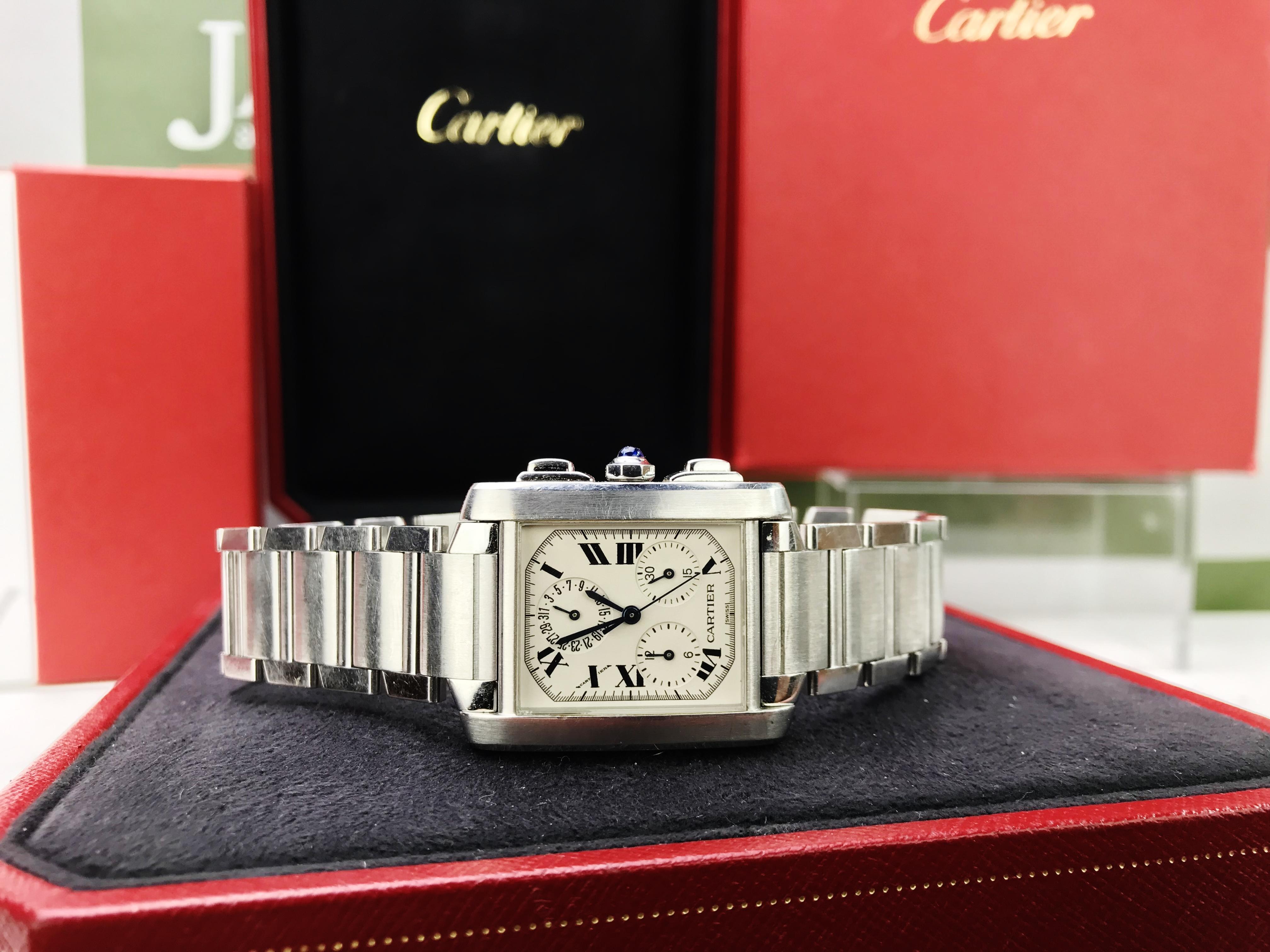 Lot 16 - Cartier Tank Francaise Chronoflex Chronograph