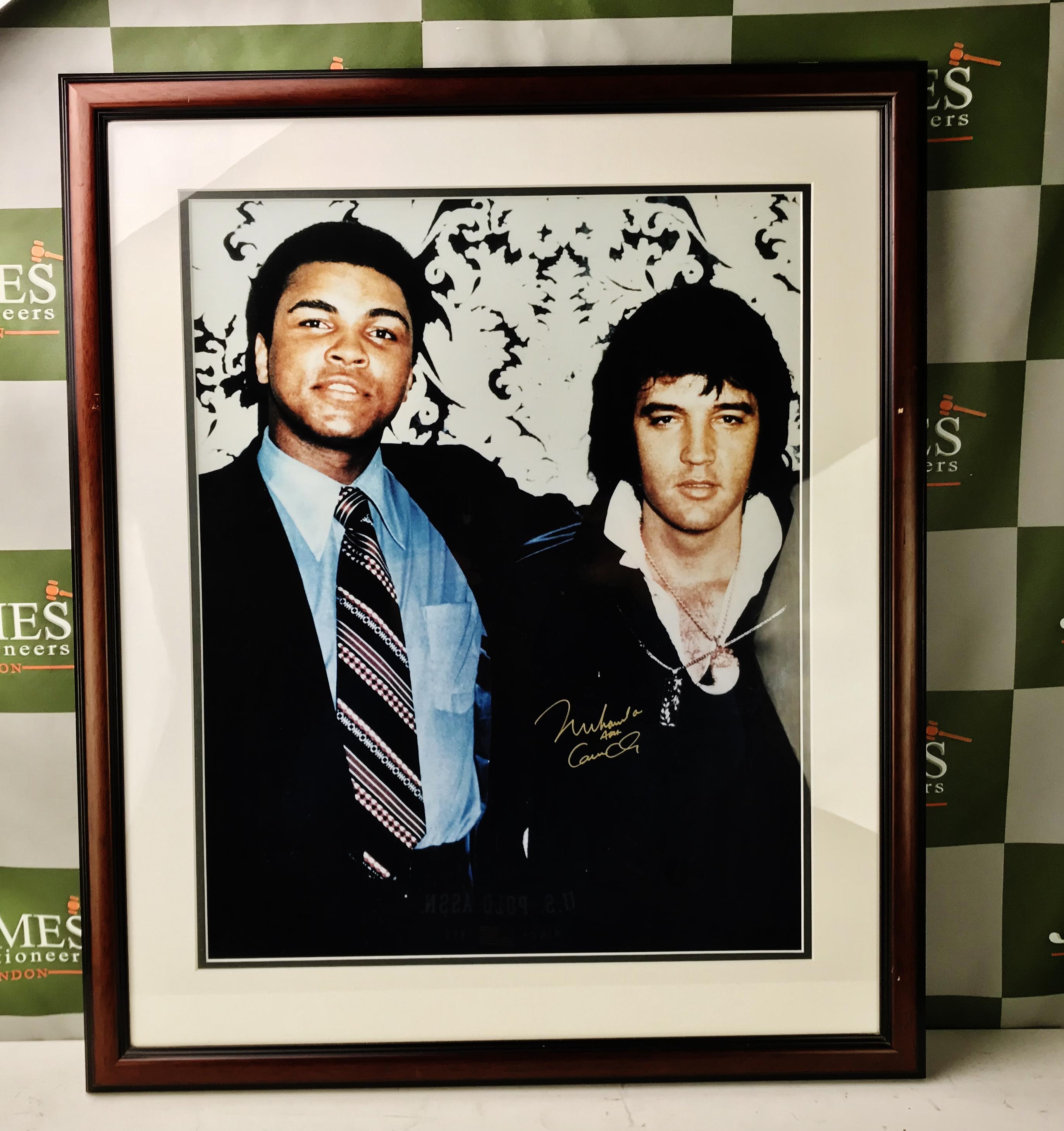 Lot 57 - Muhammad Ali & Elvis Presley Montage,Signed By Muhammad Ali.