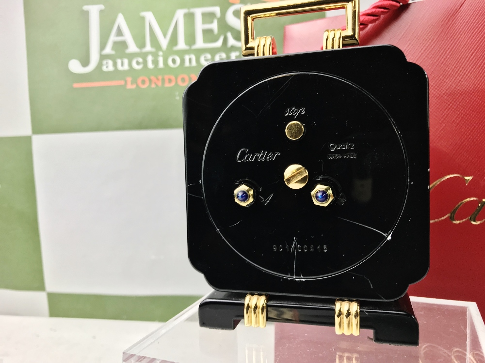 Lot 6 - Cartier Travel /Desk Alarm Clock, Onyx & Gold Plated Edition