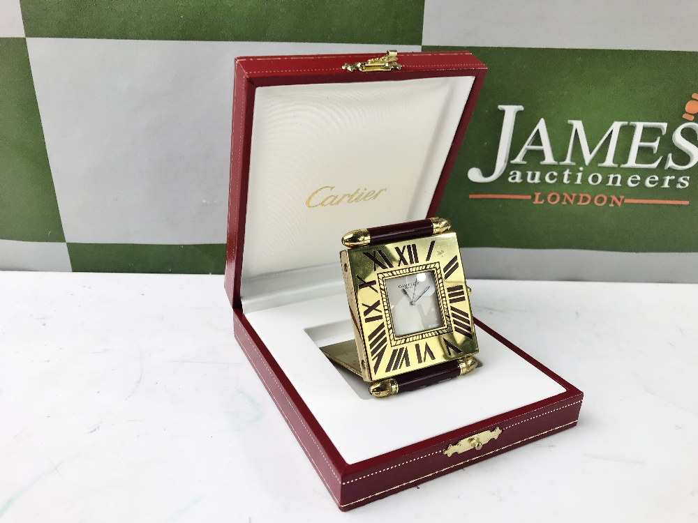 Lot 5 - Cartier Travel /Desk Alarm Clock, Gold Plated