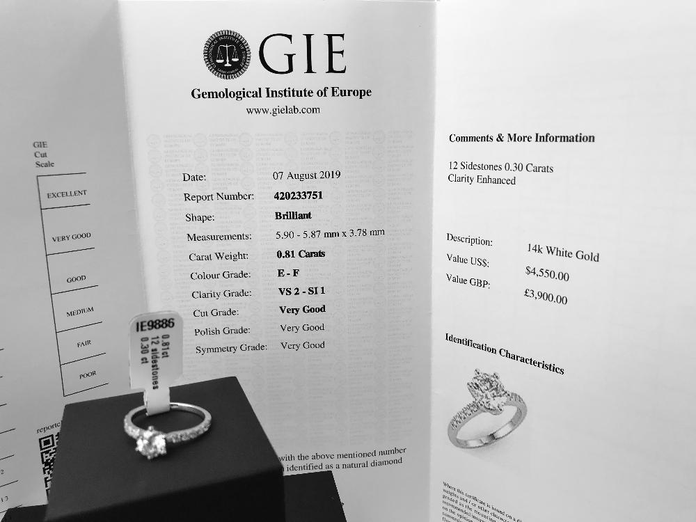 Lot 44 - 1.11 Ct Diamond Engagement Ring Round Cut VS2 Clarity/E Colour