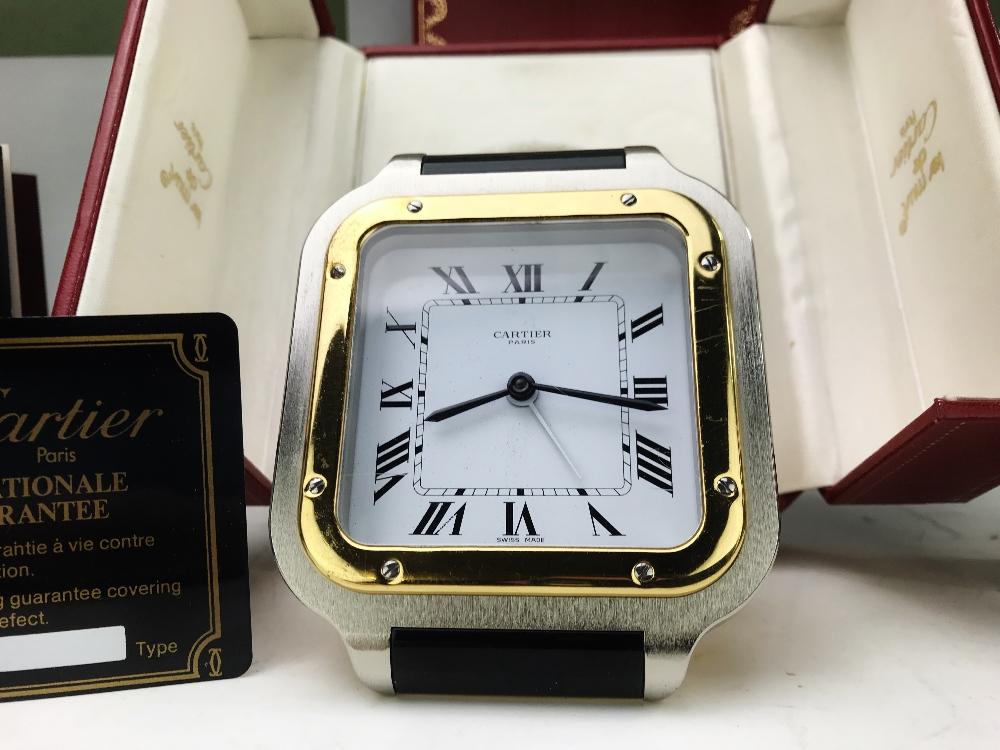 Lot 7 - Cartier Santos Travel Alarm Clock, Original Box & Warranty card etc