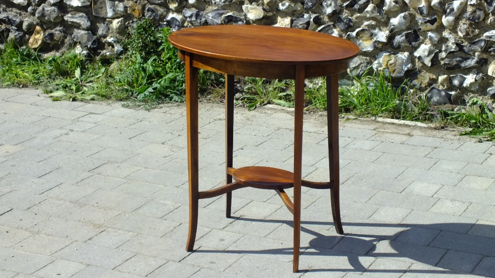 Lot 27 - Antique Inlaid Mahogany Two Tier Side Table