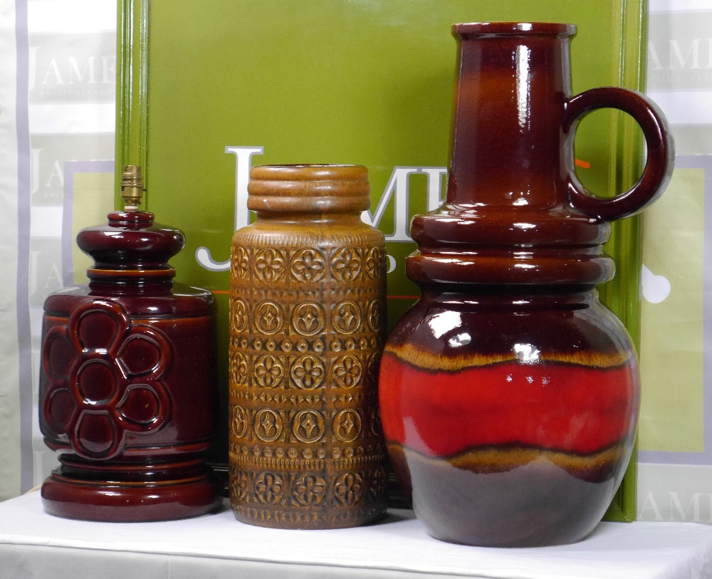 Lot 9 - West Germany Pottery Vases and Table Lamp
