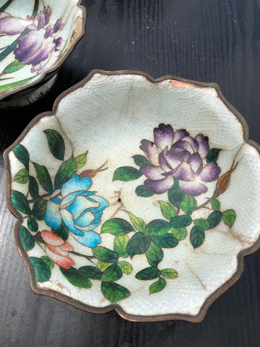 Lot 44 - Pair Vintage Floral Enamel over Brass Bowls