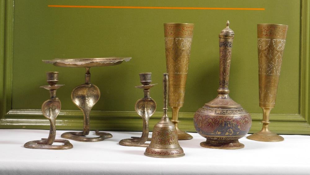 Lot 52 - Antique Ornate Indian Etached Brass and Black Set