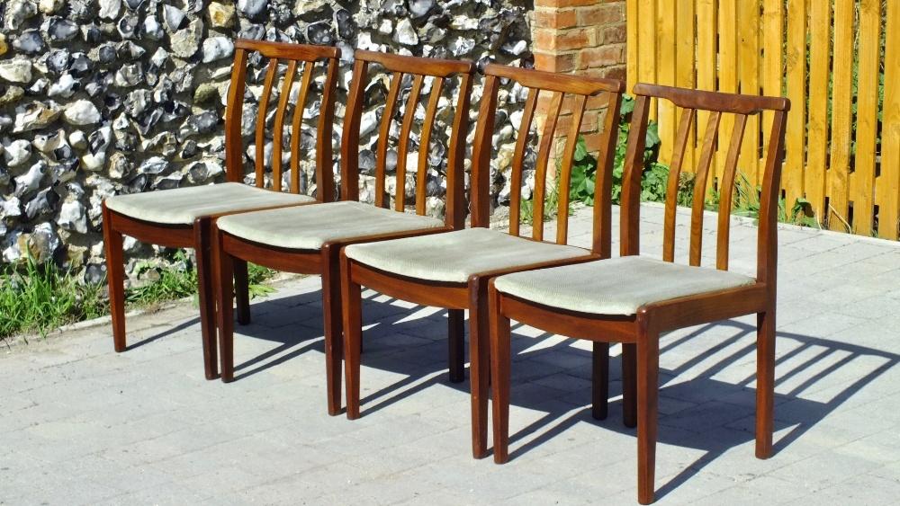 Lot 28 - Mid Century Modern Large Teak Bar Back Chairs stamped DuBois