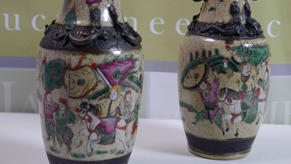 Lot 40 - Pair Antique Chinese Crackle Glaze Famille Rose Vases