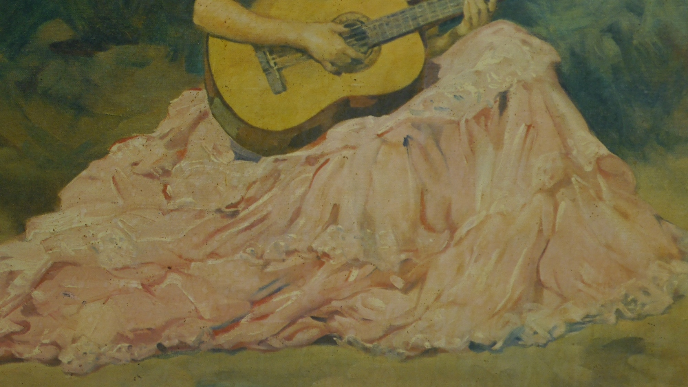 Lot 8 - Francisco Rodriguez Sanchez Clement (Spanish 1893–1968) Gypsy Guitariste
