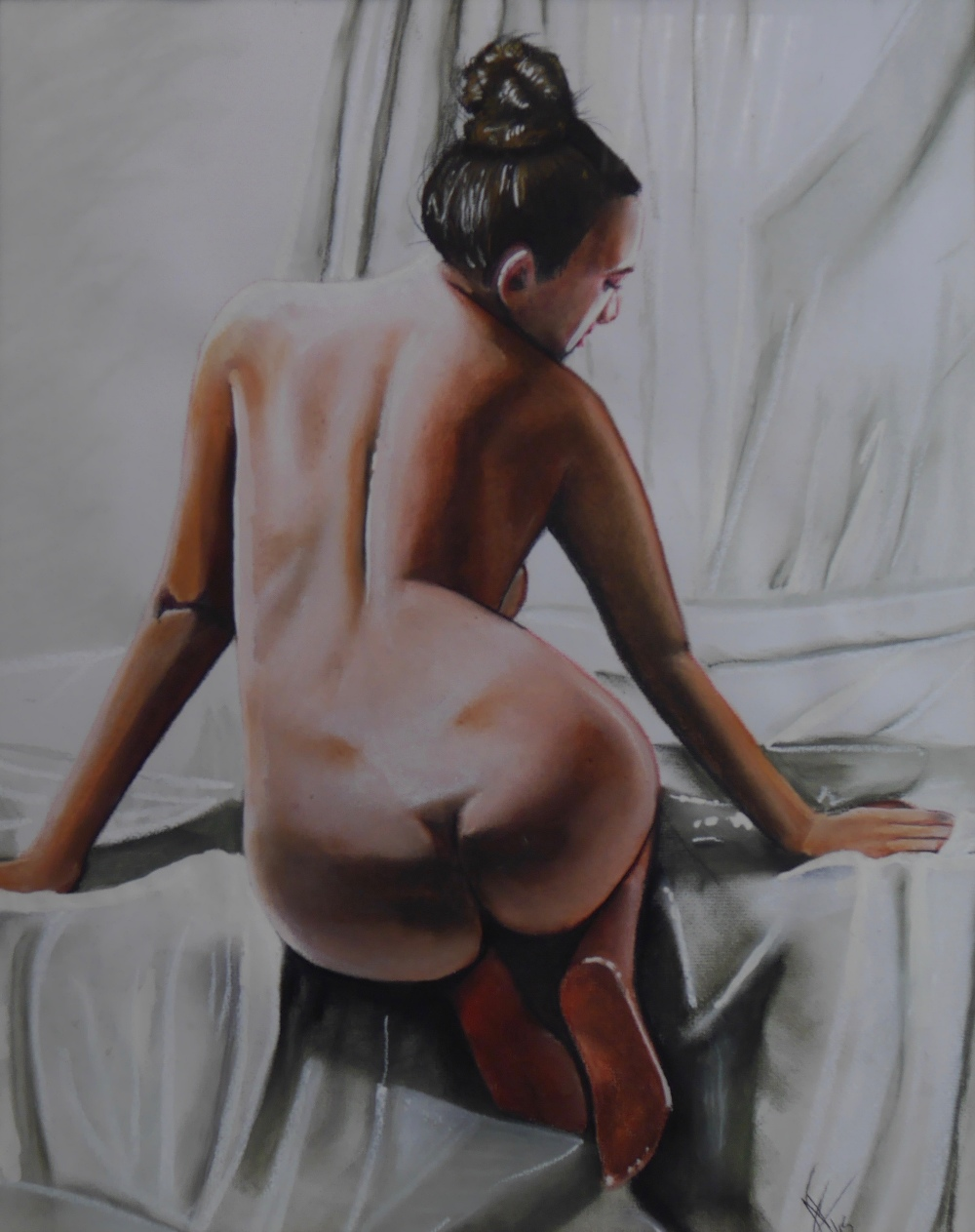 Lot 36 - Nude Art - Posterior Portrait of Nude Woman Signed A/F