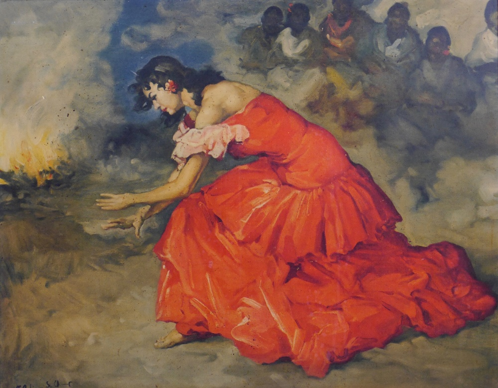Lot 7 - Francisco Rodriguez Sanchez Clement (Spanish 1893–1968) Fire Dancer Flamenco