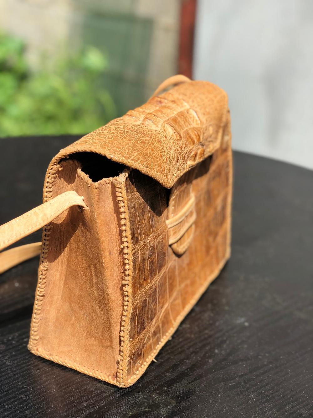 Lot 45 - Vintage Genuine Crocodile Skin Handbag