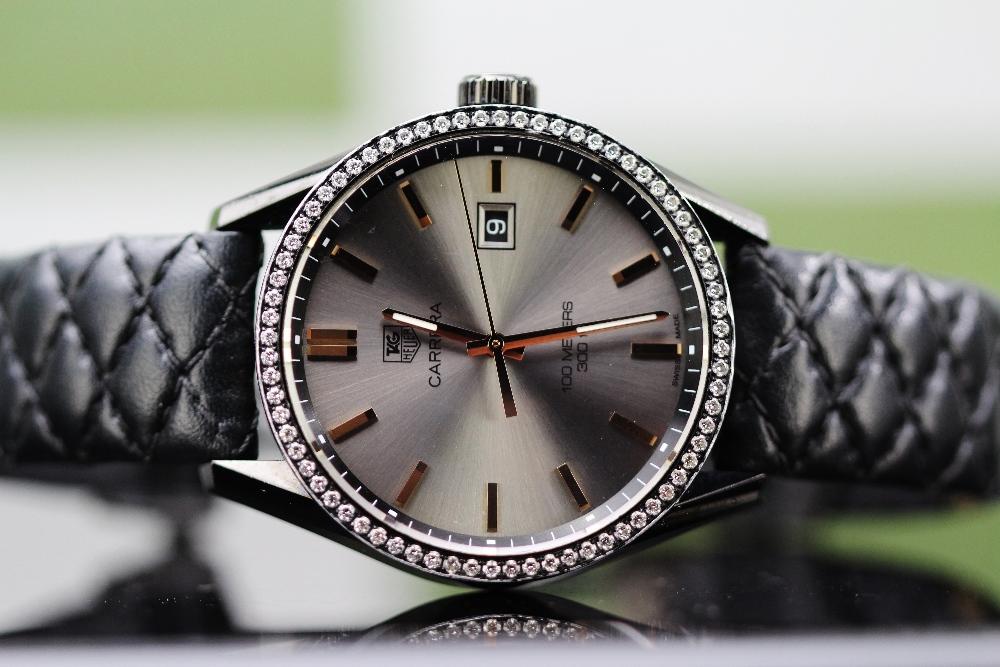 Lot 30 - Tag Heuer Carrera Cara Delevingne Rose Gold Diamond Factory Edition