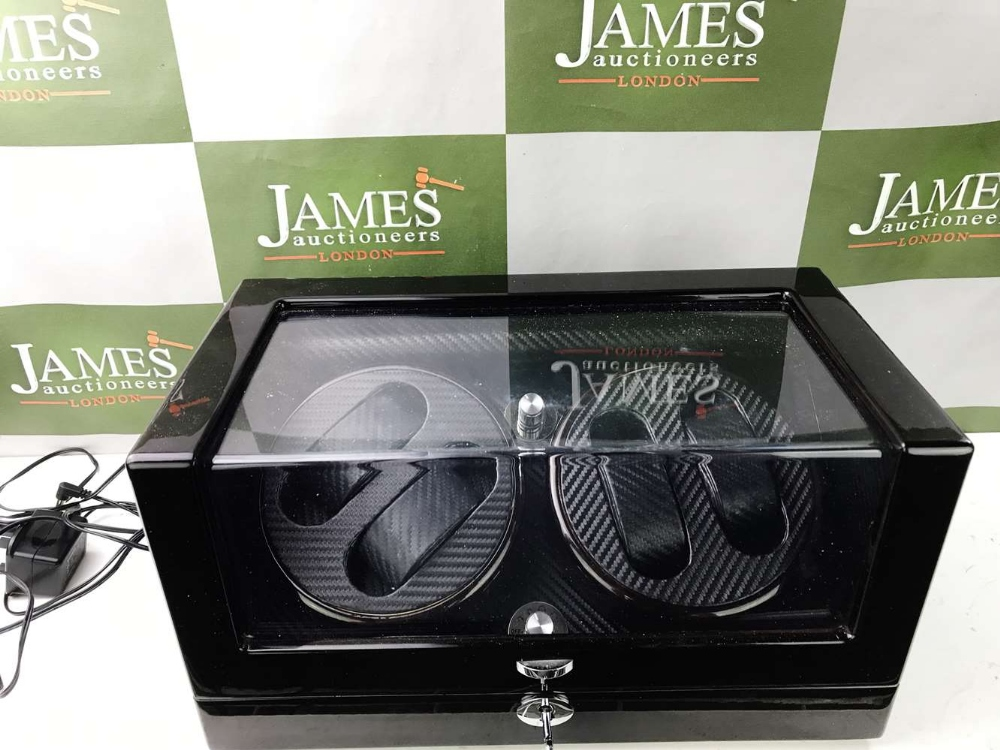 Lot 28 - Watch Winder- Four Watches-Gloss Black & Carbon Finish