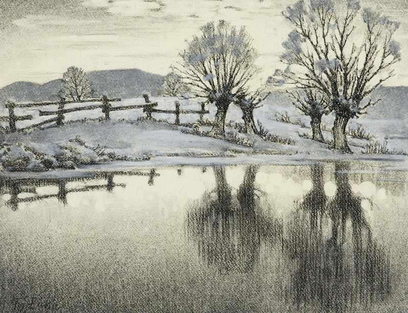 Lot 21 - Eicke, Friedrich. (1883 - 1975). Winter am Wasser. Pastell auf hellgelbem Bütten. Ca. 34,5 x 44