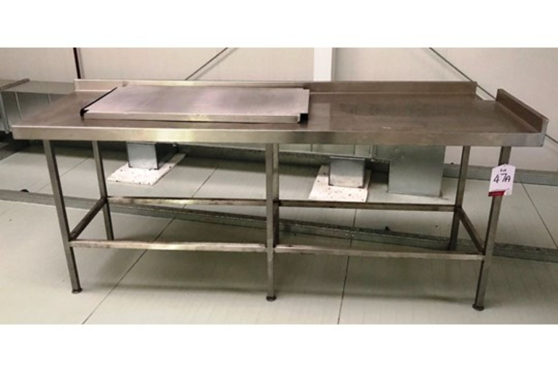 Lot 5 - Stainless Steel Preparation Table w/ Sidestand & Upstand - 2220mm Length