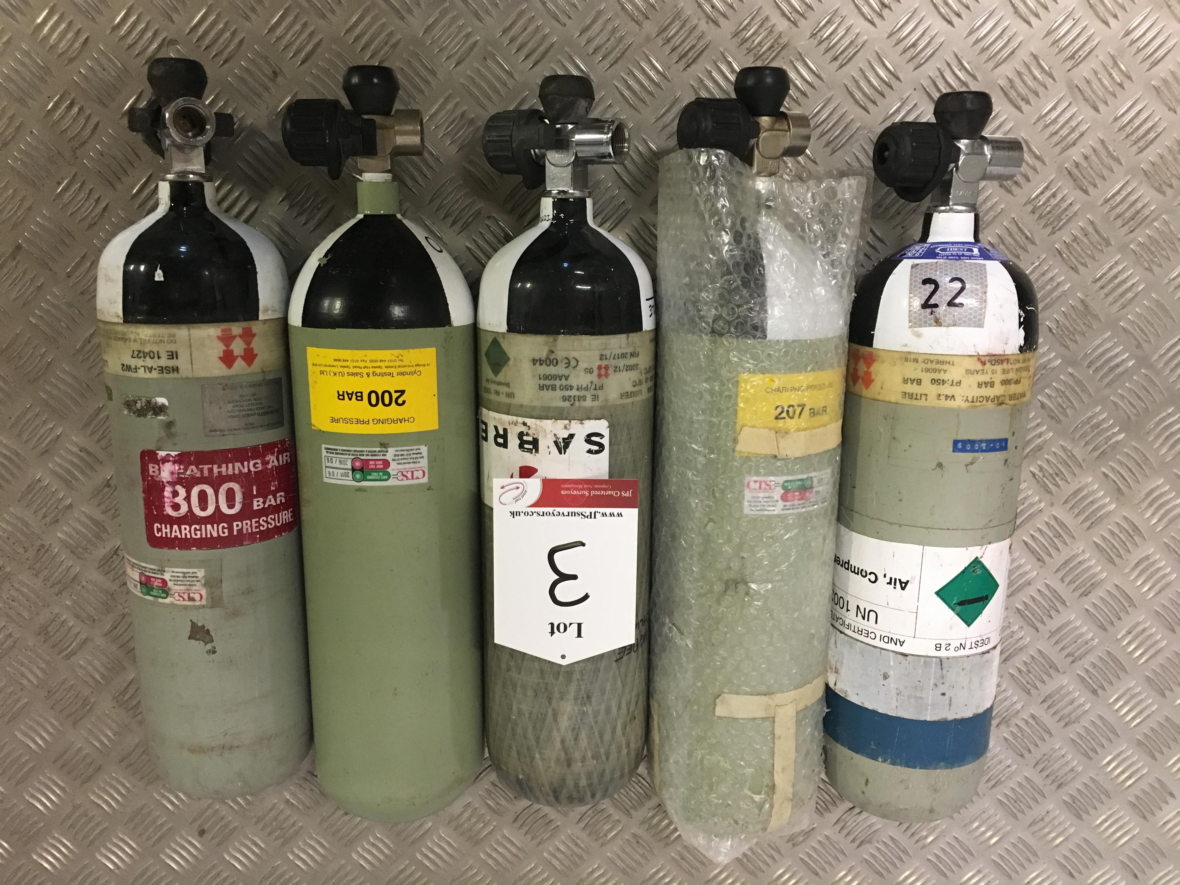 Lot 3 - 5 x Sabre 200 Bar Compressed Air Cylinder with Saver Valves