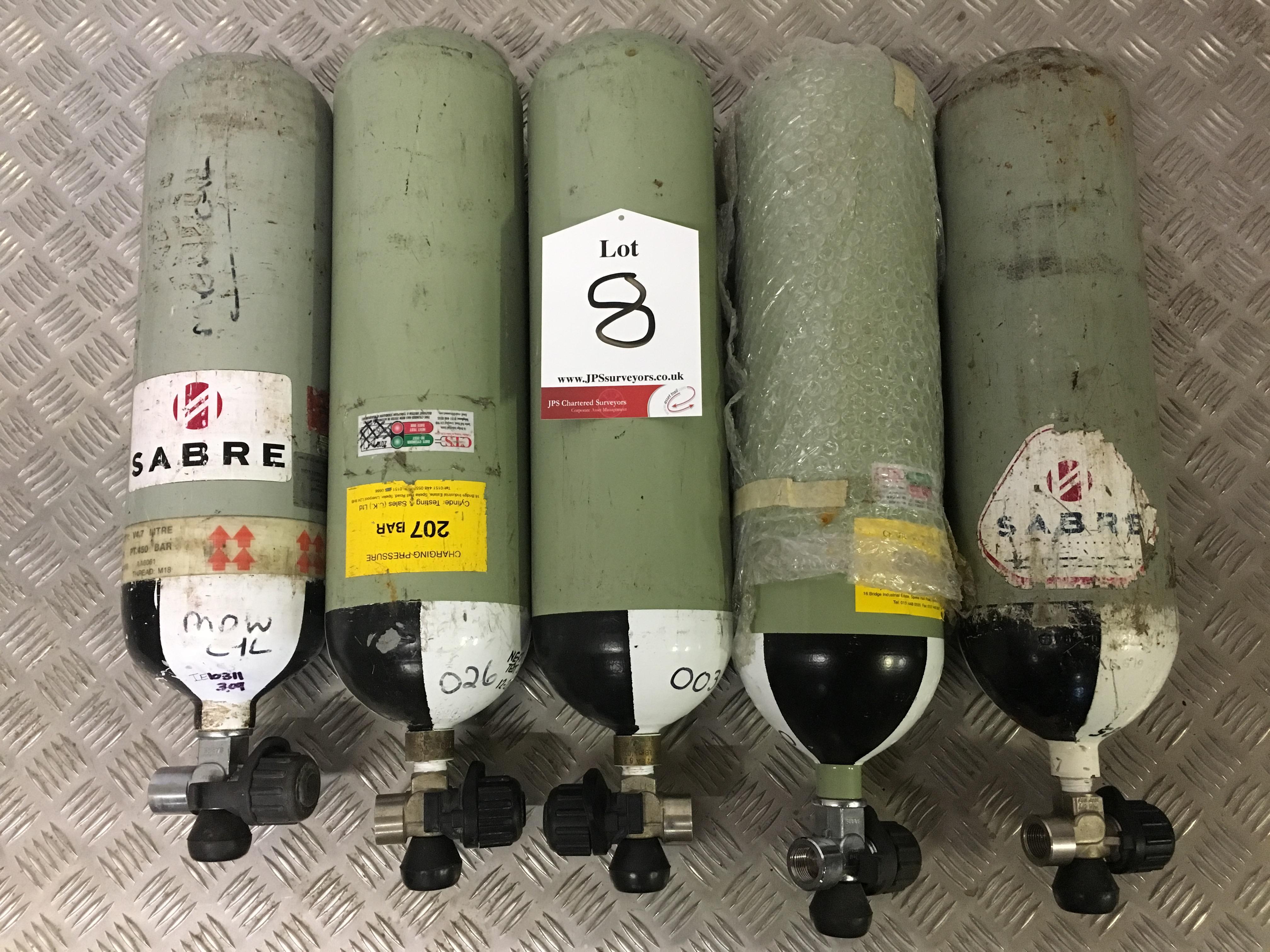 Lot 8 - 5 x Sabre 200 Bar Compressed Air Cylinder with Saver Valves