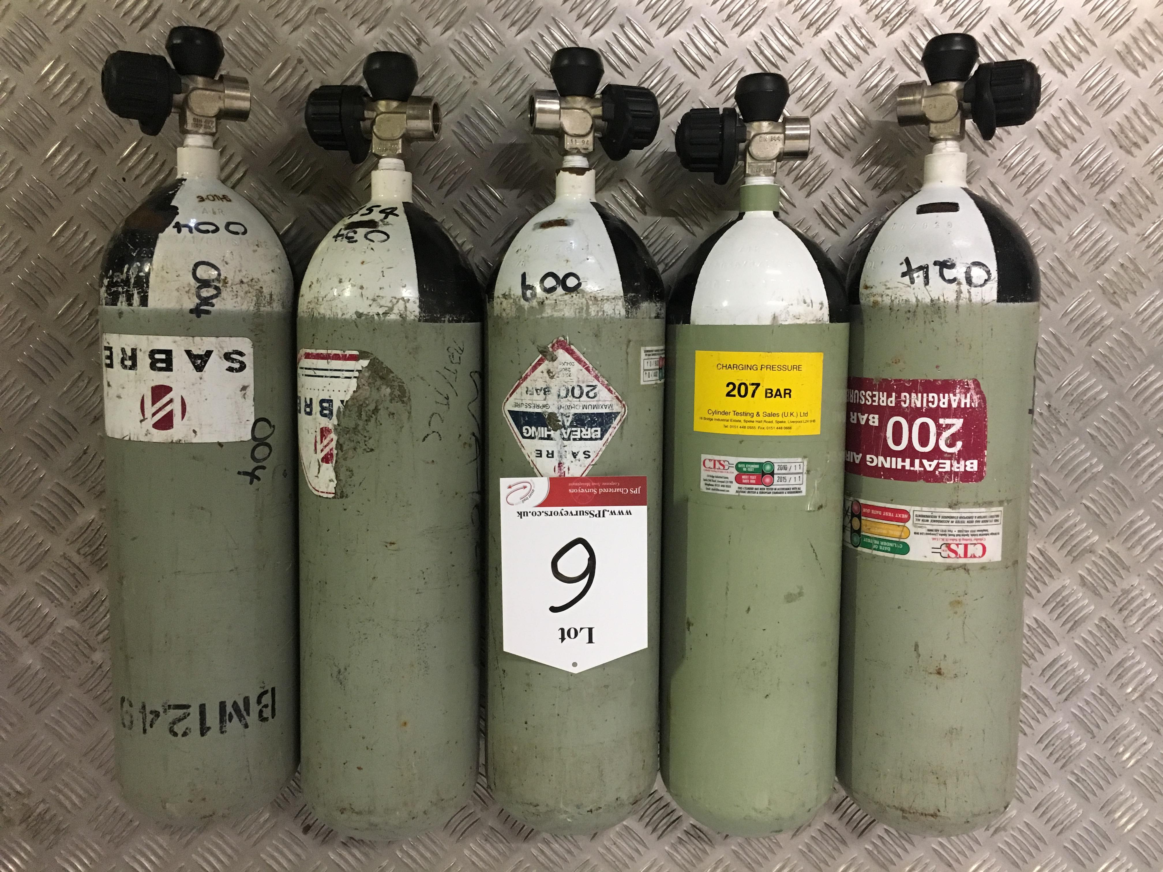 Lot 6 - 5 x Sabre 200 Bar Compressed Air Cylinder with Saver Valves