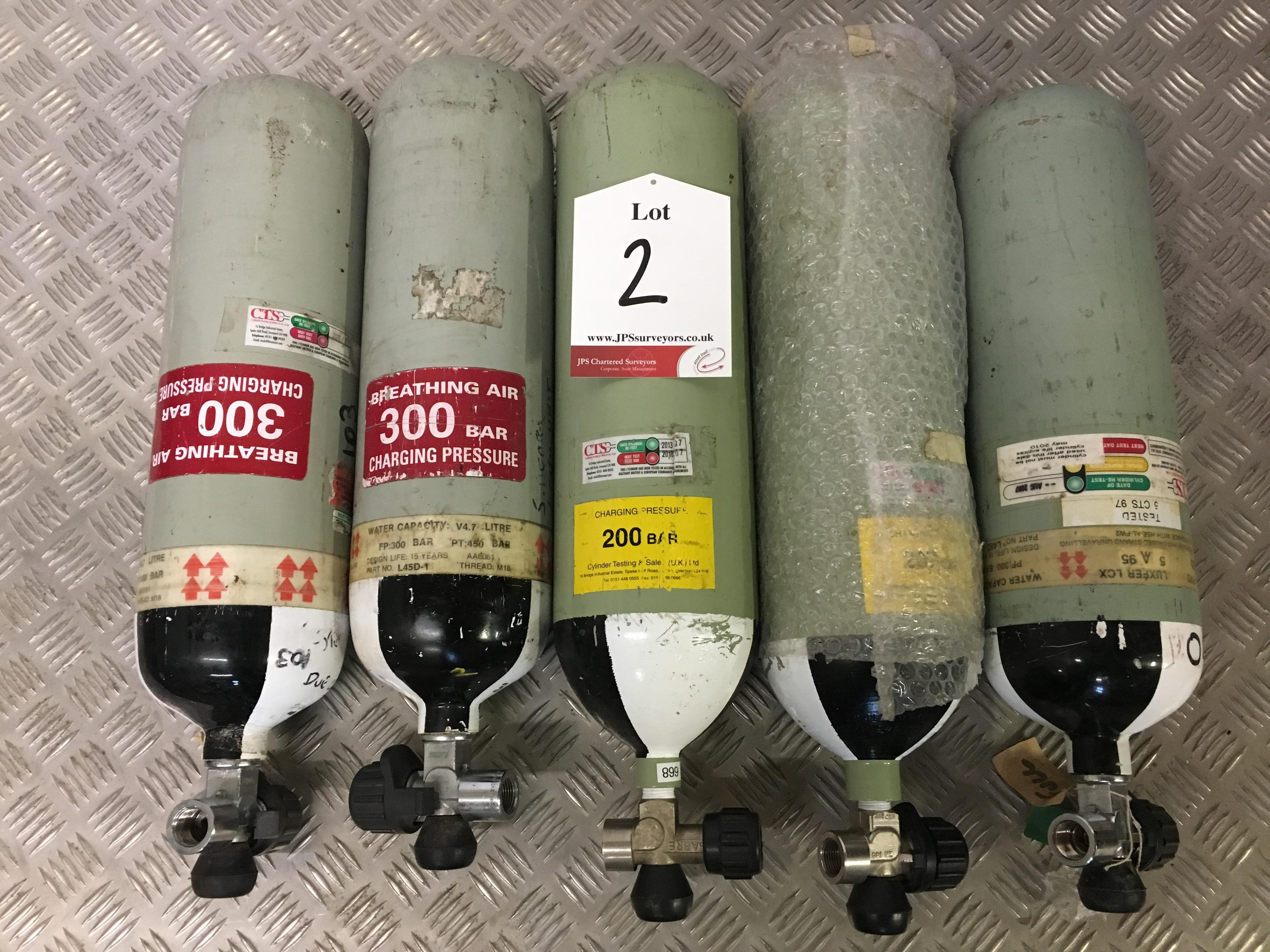 Lot 2 - 5 x Sabre 200 Bar Compressed Air Cylinder with Saver Valves