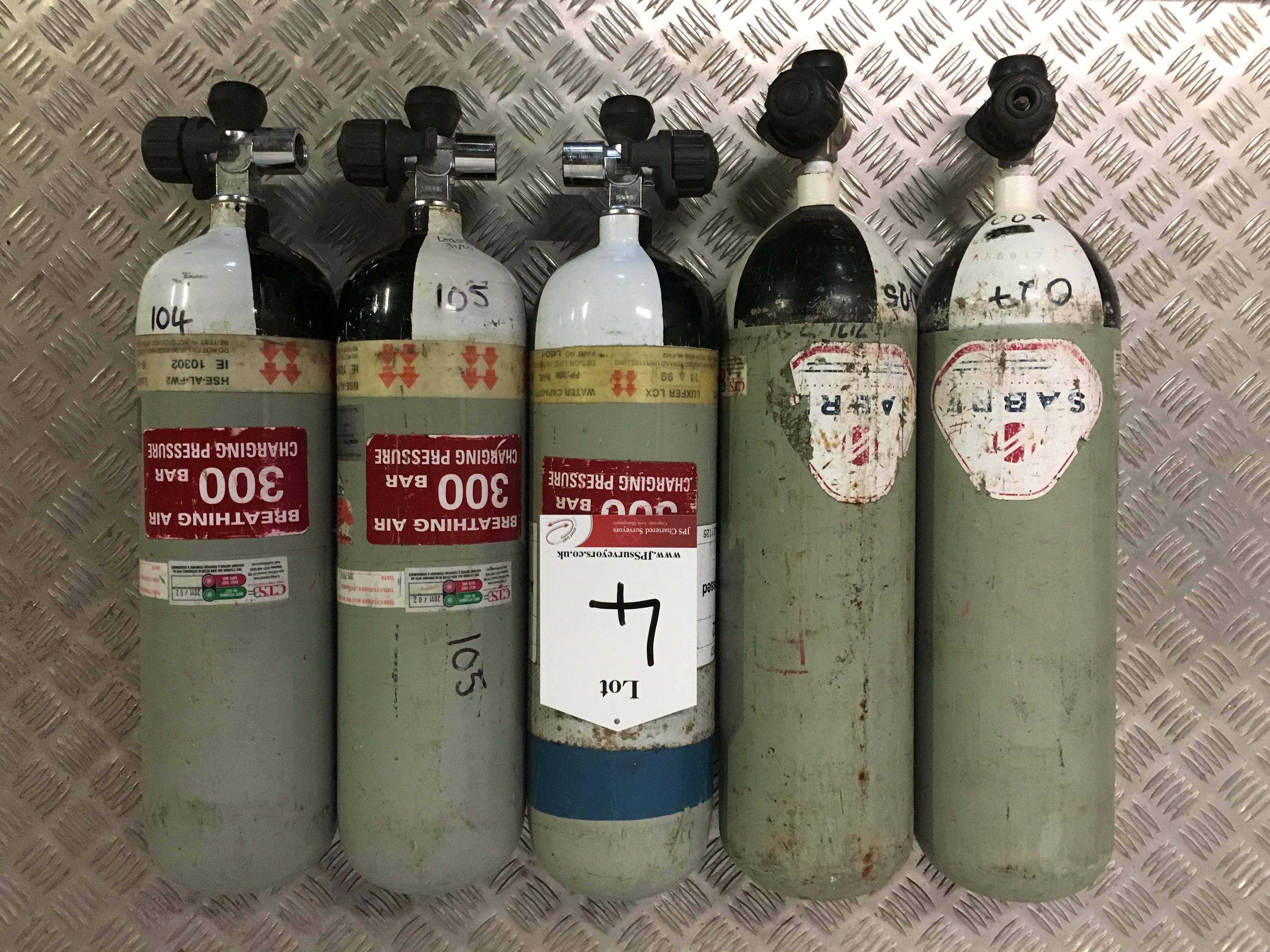 Lot 4 - 5 x Sabre 200 Bar Compressed Air Cylinder with Saver Valves