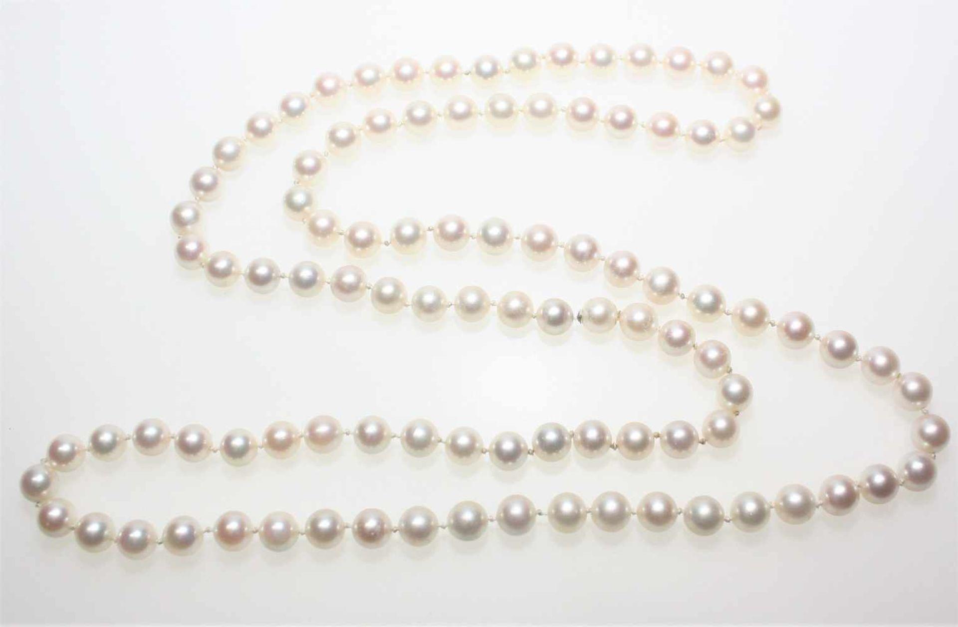 Los 54 - Lange Zuchtperlenkette Choker, endlos ohne Schloss aufgezogen, Perlen in gutem Lüster, Durchm. ca.