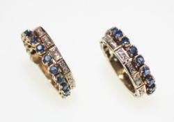 Zwei gleiche Ringe ca. 585/f Weißgold vergoldet, je eine Seite besetzt mit rund facettierten