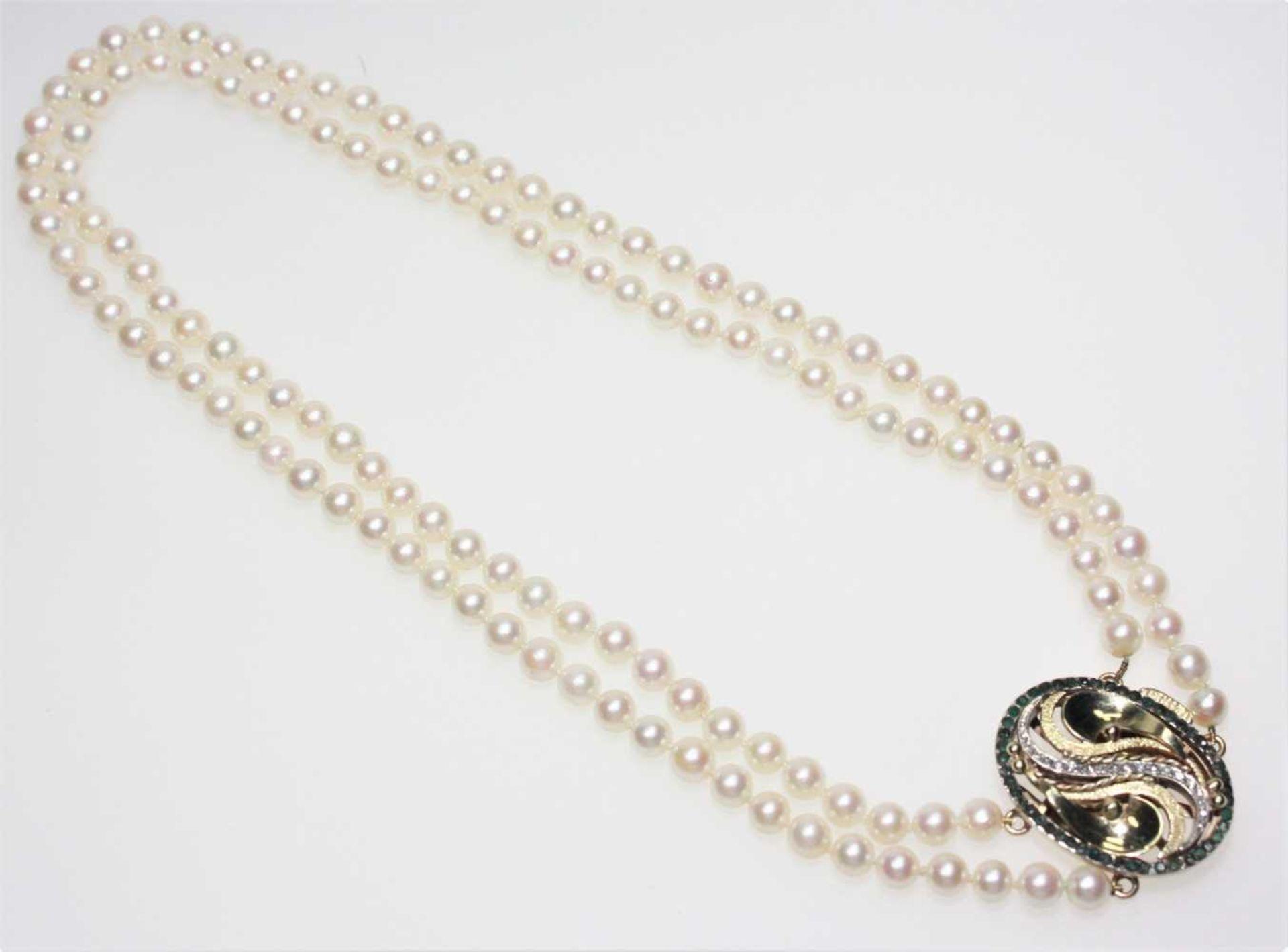Zweireihige Zuchtperlenkette Choker, Perldurchmesser ca. 6?–?6,4 mm, größeres, vorne zu tragendes