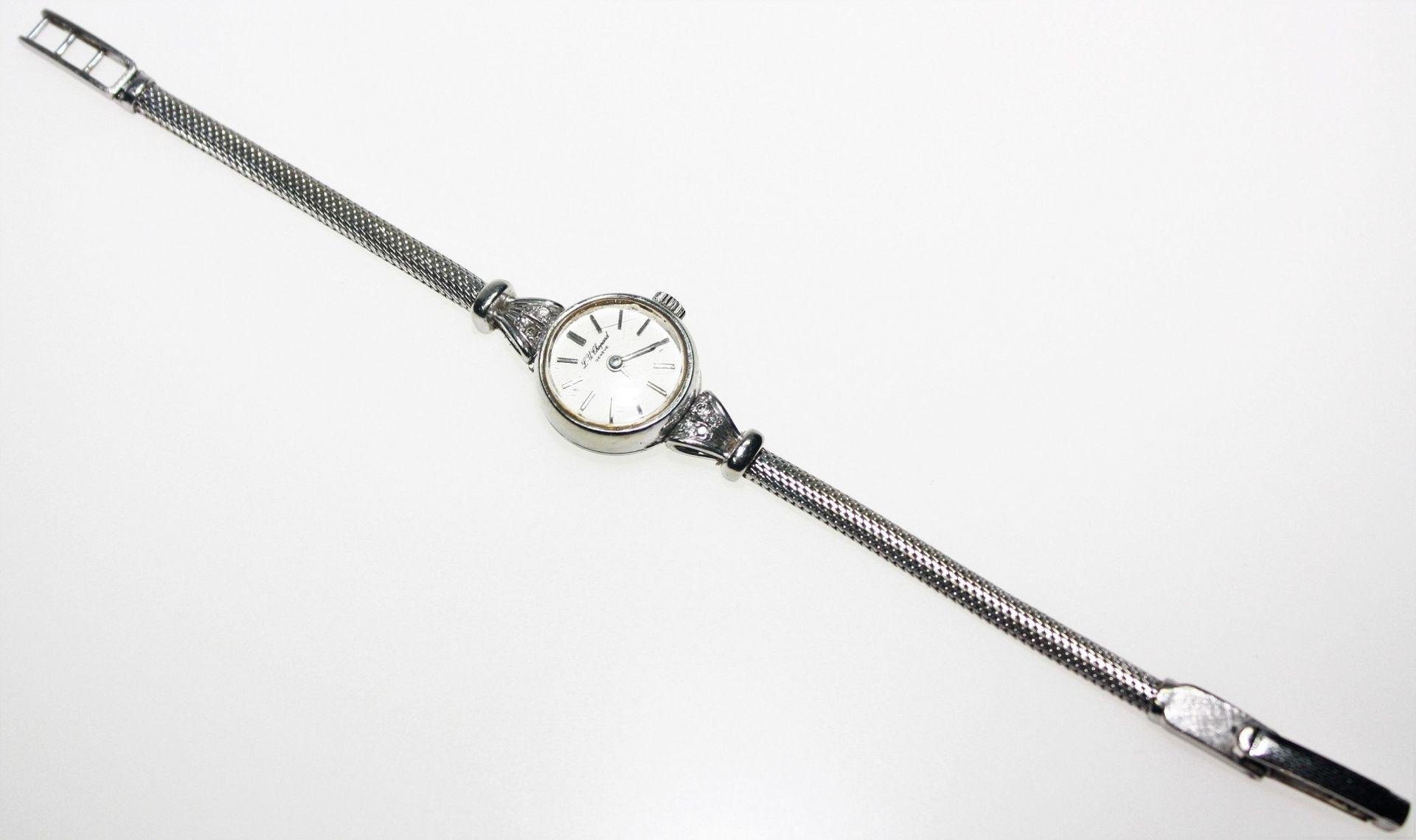 """Weißgoldene Damen-Armbanduhr 585/f gest., rundes Zifferblatt bezeichnet """"L.-U. Chopard"""", schmales"""