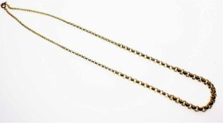 Goldene Kette im Verlauf 585/f gest., Erbsmuster, Länge ca. 45 cm.Brgw. 16,3