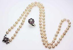 Zuchtperlkonvolut:1 Kette, Perlen cremefarbig, Durchmesser ca. 7 mm, Weißgoldschloss ca. 750/f mit