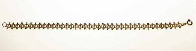Kleines Goldarmband 585/f gest., Garibaldimuster mit Kügelchen, Länge ca. 19 cm.Brgw. 9,3 g