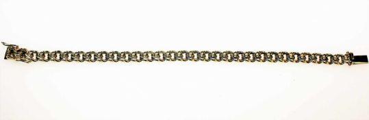 Goldenes Armband 585/f gest., Garibaldimuster, Länge ca. 19 cm.Brgw. 19,6 g