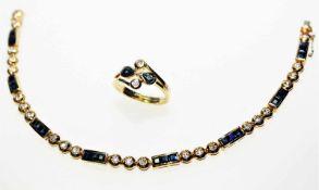 Goldenes Schmuckkonvolut 750/f gest.:1 Ring mit zwei tropfenförmigen, blauen Saphiren und zwei