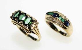 Goldenes Ringkonvolut 585/f gest.:1 älterer Ring mit drei oval facettierten, grünen Turmalinen,