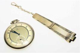 """Goldene Frackuhr """"Omega"""", drei Deckel 585/f gest., kleine Sekunde bei """"6"""", 52,0 gdazu ein goldenes"""