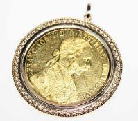 Goldener Münzanhänger 585/f gest. mit Goldmünze 4 Dukat.Brgw. 23,2 g
