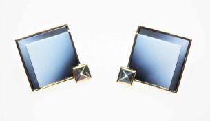 Quadratische, goldene Ohrclips mit Dorn 585/f gest. mit blauem Achat und Bergkristall.Brgw. 12,4 g