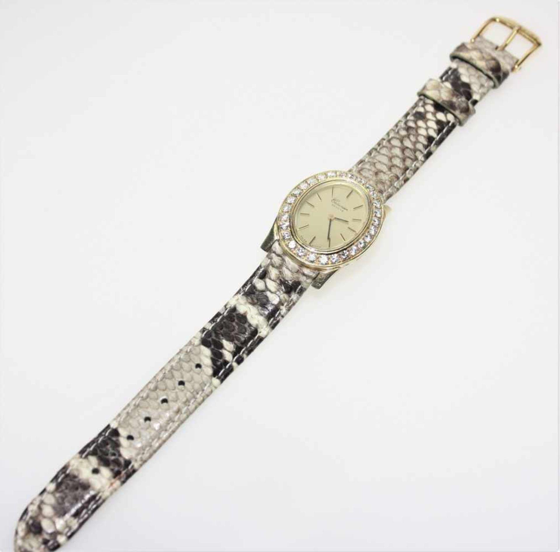 """Moderne, golden Damen-Armbanduhr 585/f gest., ovales Zifferblatt bezeichnet """"Crosier"""", Geneve, in"""
