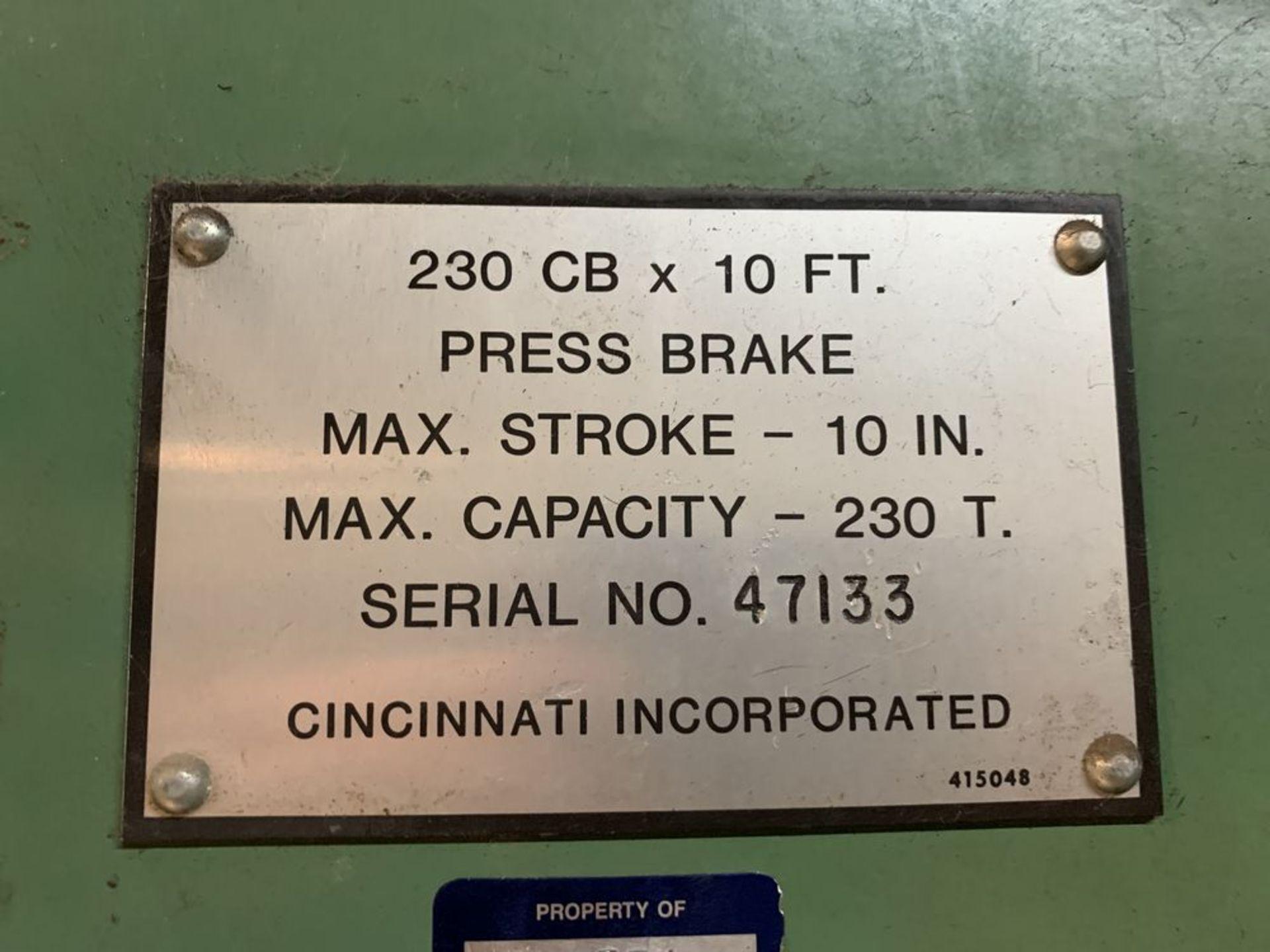 Lot 24 - 230 Ton Cincinnati 230CB Hydraulic Brake, 12' OA, 10' BH, 1-Axis Hurco