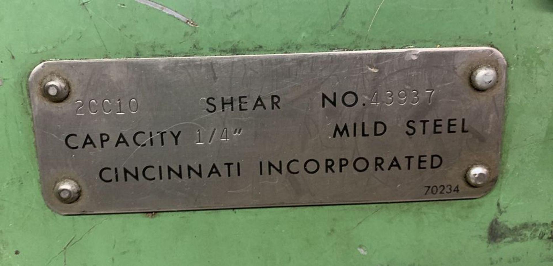 "Lot 30 - 10' x 1/4"" Cincinnati #2CC10 Shear, FOPBG, 10' sq. arm"