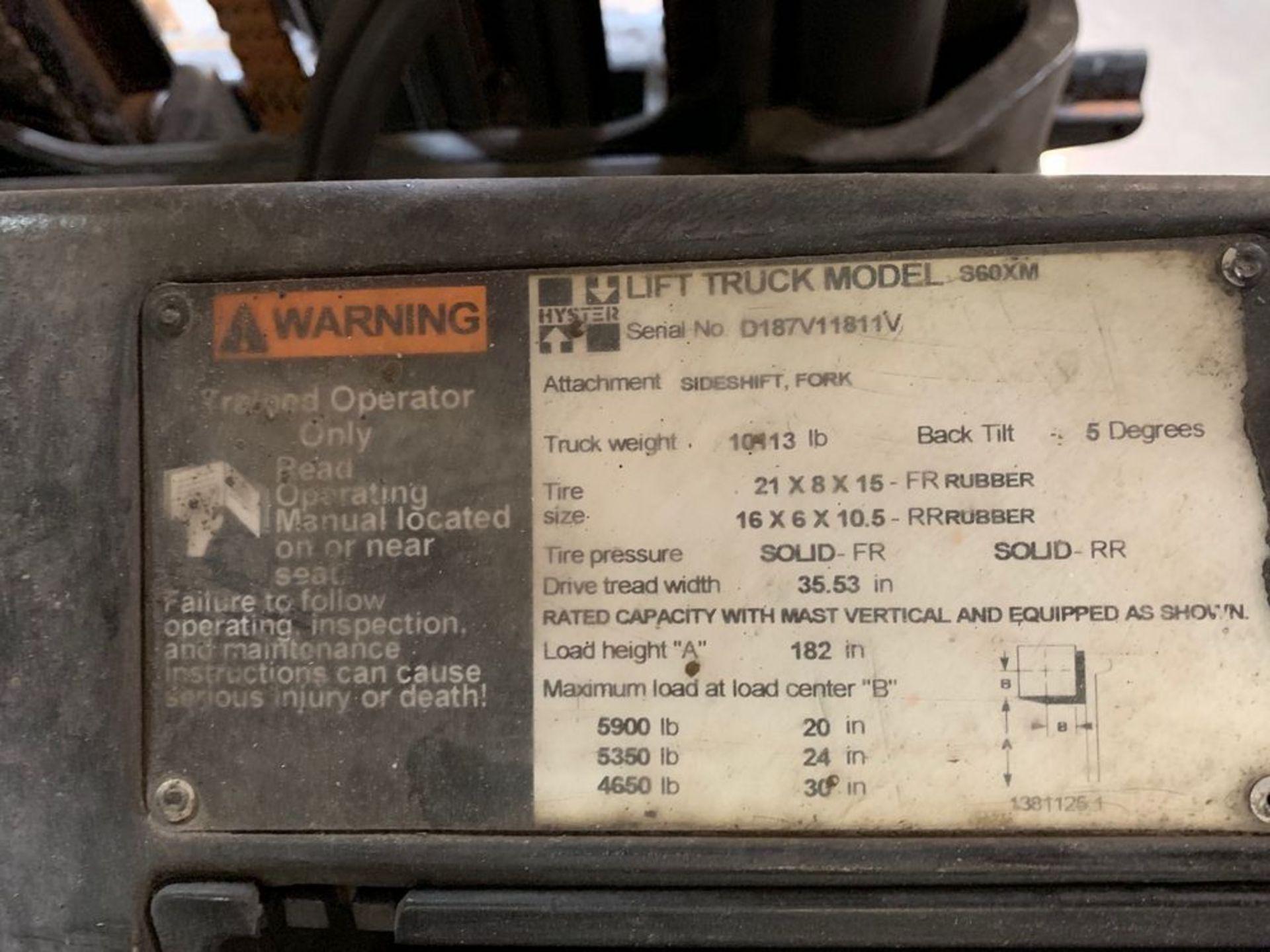 Lot 37 - 6,000 lb. Hyster Forklift Model S60XMn, Propane Tank NOT Included, s/n: D187V11811V