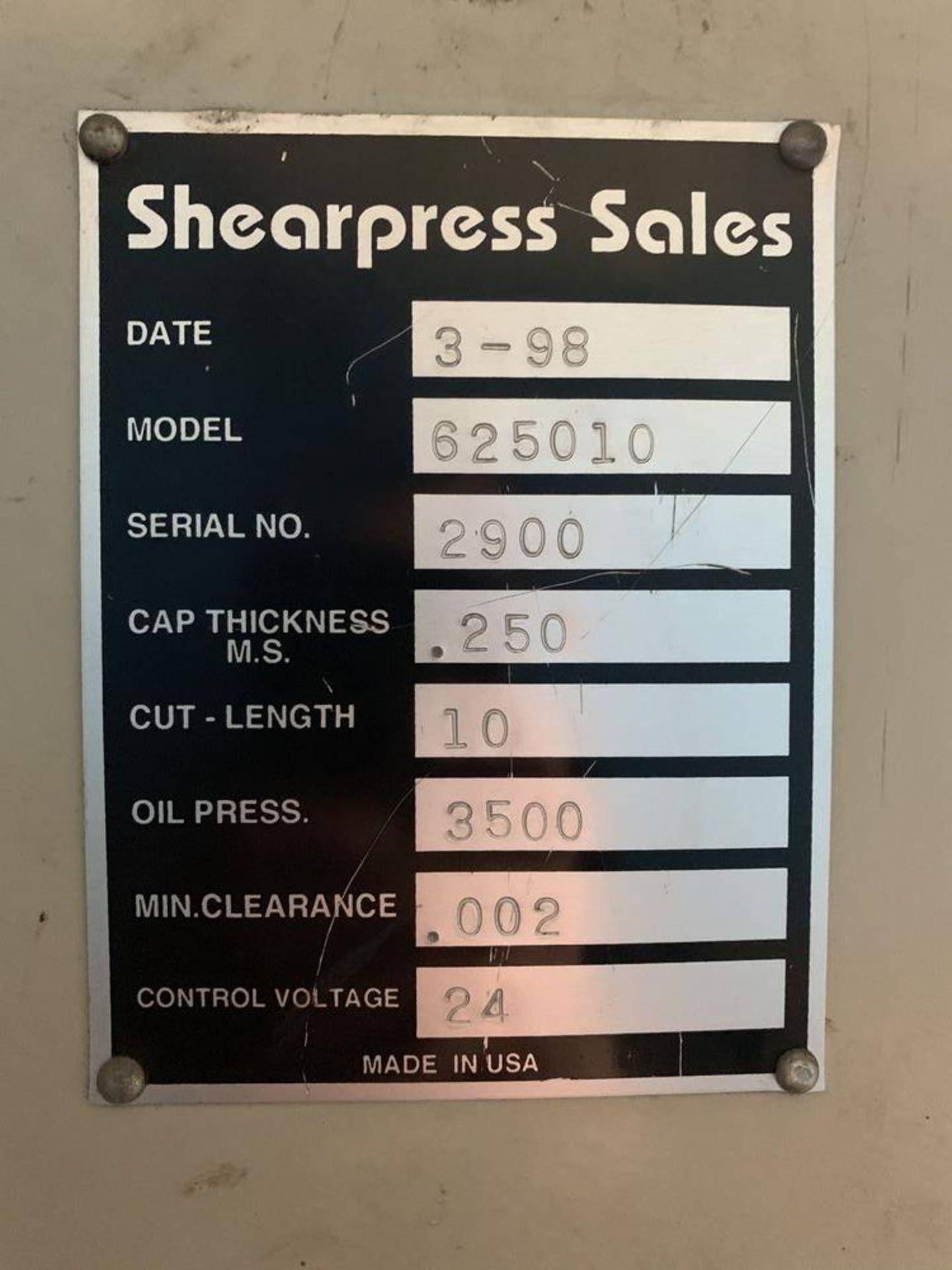 """Lot 29 - 10' x 1/4"""" Accurshear #625010 Hydraulic Shear, 36"""" FOPBG, 10' sq. arm"""