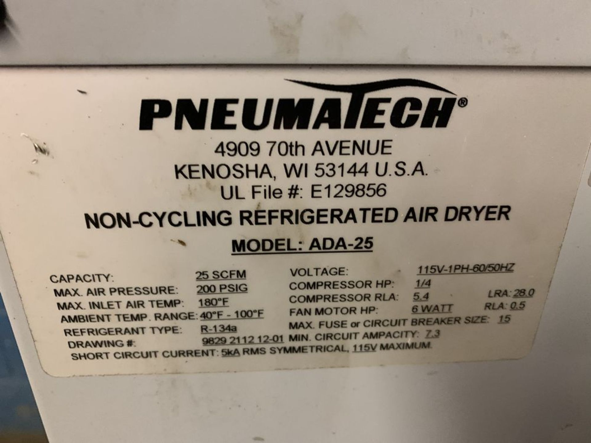 Lot 32 - Pneumatech ADA-25 Air Dryer and Arrow Air Dryer