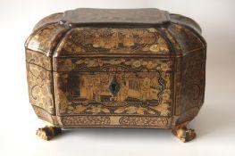 Boîte à Thé en laque de Chine ouvrant à 2 compartiments en étain, couvercle avec [...]
